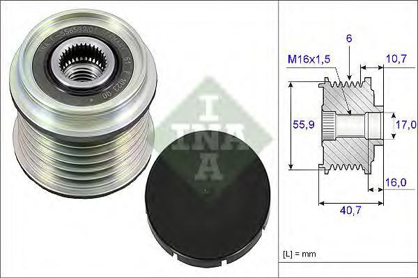 Шкив генератора RENAULT: CLIO II 1.9DTI 02/00-, KANGOO 1.9DTI/DCi 02/00-, MITSUBISHI: CARISMA 1.9DI-D 09/00-, VOLVO: S40/V40 1.9DI 00-03