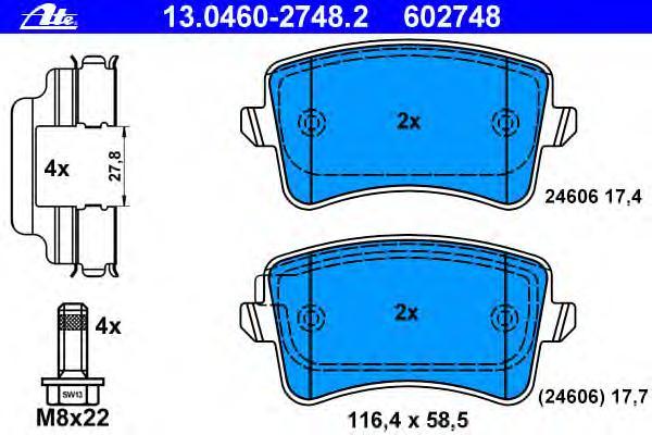 Колодки тормозные дисковые задн, AUDI: A4 1.8 TFSI/1.8 TFSI quattro/2.0 TDI/2.0 TDI quattro/2.0 TFSI/2.0 TFSI flexible fuel/2.0 TFSI flexible fuel quattro/2.0 TFSI quattro/2.7