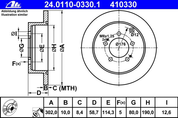 Диск тормозной задн, CITROEN: C-CROSSER 2.2 HDi/2.4 16V 07-, C-CROSSER ENTERPRISE 2.2 HDi/2.4 16V 09- \ MITSUBISHI: LANCER SPORTBACK 2.0 Ralliart/2.0 Ralliart 08-,