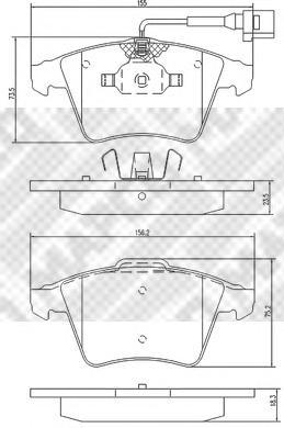 К-т колодок торм. Fr VW T5 03-09