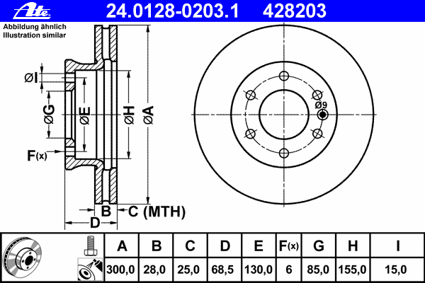 Диск тормозной передн, MERCEDES-BENZ: SPRINTER 3,5 c бортовой платформой 309 CDI/310 CDI/311 CDI/311 CDI 4x4/313 CDI/313 CDI 4x4/315 CDI/315 CDI 4x4/316/316 CDI/31