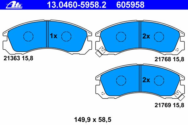 Колодки тормозные дисковые передн, CITROEN: C-CROSSER 2.2 HDi/2.4 16V 07-, C-CROSSER ENTERPRISE 2.2 HDi/2.4 16V 09- \ MITSUBISHI: GALANT VI 2.0/2.4 GDI/2.5 V6 24V/2.5 V6 24V 9