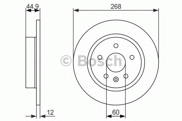 Диск тормозной CHEVROLET CRUZE/OPEL ASTRA J R15 09- задний D=268мм