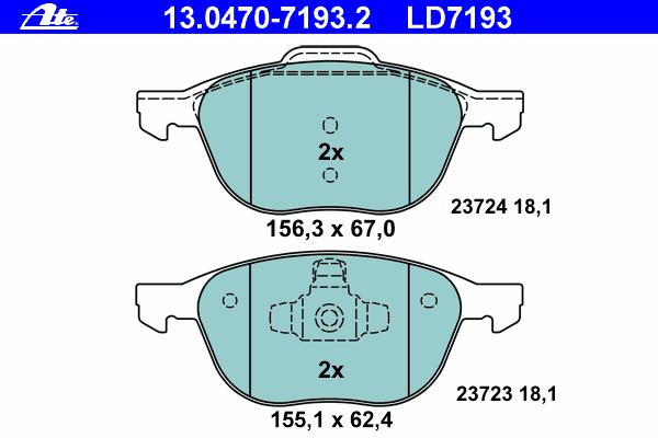 Колодки тормозные дисковые передн, CERAMIC, FORD: C-MAX 1.6/1.6 TDCi/1.8/1.8 Flexifuel/1.8 TDCi/2.0/2.0 CNG/2.0 LPG/2.0 TDCi 07-, C-MAX II 1.0 EcoBoost/1.6 EcoBoost/1.6 Flexifue