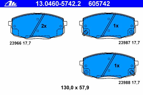 Колодки тормозные дисковые передн, HYUNDAI: i30 1.4/1.6/1.6 CRDi/2.0/2.0 CRDi 07-11, i30 CW 1.4/1.6/1.6 CRDi/2.0/2.0 CRDi 07-12, i30 CW 1.6 12- \ KIA: CARENS II 1.6/1.8/2.0 CR