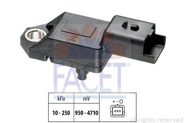 Датчик давления воздуха CITROEN: C5 II 2.2HDI 04.06-, C5 III 2.2HDI 07.10-, C6 2.2HDI 06.06-, C8 2.2HDI 06.06-, C-CROSSER 2.2HDI 02.07- \ FIAT: ULYSSE 2.2D 10.07- \ FORD