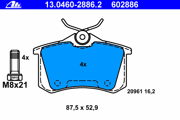 Колодки тормозные дисковые задн, AUDI: A4 1.6/1.8 T/1.8 T quattro/1.9 TDI/1.9 TDI quattro/2.0/2.0 FSI/2.4/2.5 TDI/2.5 TDI quattro/3.0/3.0 quattro 00-04, A4 1.6/1.8 T/1.8 T qua
