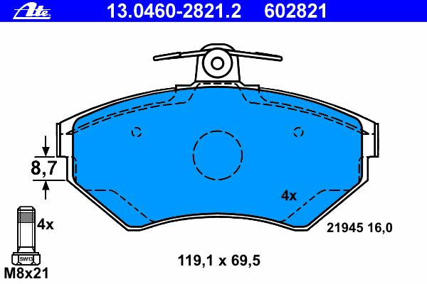 Колодки тормозные дисковые передн, SEAT: AROSA 1.4 16V/1.4 TDI 97-04, CORDOBA 1.4 i/1.4 i 16V/1.6 i/1.7 SDI/1.8 i/1.8 i 16V/1.9 SDI/1.9 TDI/2.0 i 93-99, CORDOBA 1.6/1.9 TDI 99