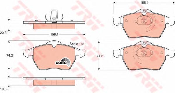 Колодки передние OPEL VECTRA B, SAAB 9-3 GDB1271