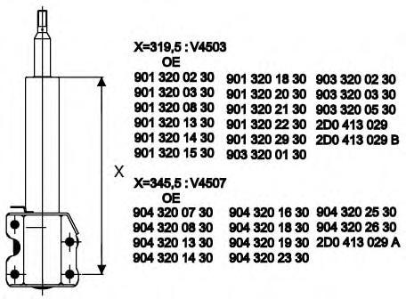 Амортизатор подвески передн MERCEDES-BENZ: SPRINTER 2-t фургон 95-06 , SPRINTER 3-t фургон 95-06 , SPRINTER 4-t фургон 96-06 \ VW: LT 28-35 II автобус 96-06 , LT
