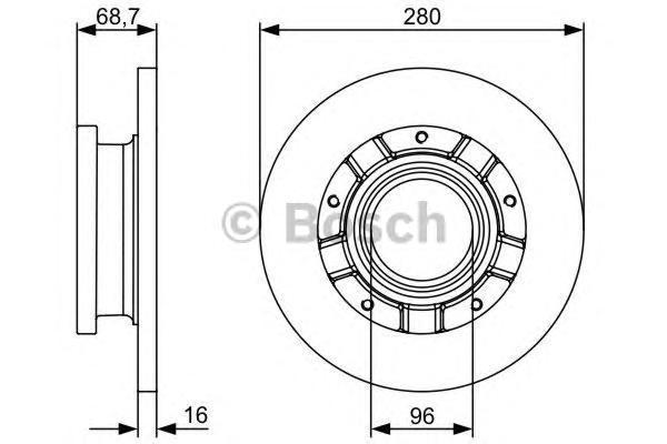 Диск тормозной FORD TRANSIT задний 2.2TDCi 06- Bosch