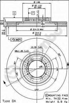 Диск тормозной MITSUBISHI PAJERO 2.5-3.0 90-00/PAJERO SPORT 2.5-3.0 98- передний