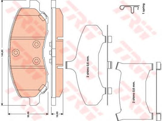 Колодки передние CHRYSLER SEBRING (JS), DODGE CALIBER, MITSUBISHI ASX GDB4142