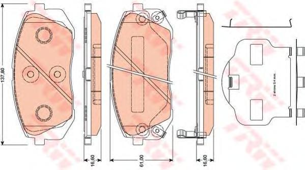 Колодки передние HYUNDAI IX35, KIA SPORTAGE (JE_, SL) GDB3461
