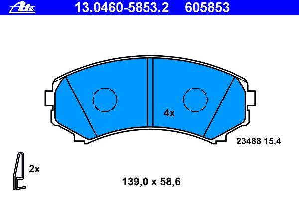 Колодки тормозные дисковые передн, MITSUBISHI: GRANDIS 2.0 DI-D/2.4 03-, PAJERO CLASSIC 2.5 TD/3.2 DI-D/3.2 DiD 02-, PAJERO III 2.5 TDi/3.2 Di-D/3.5 00-07, PAJERO III Canvas T