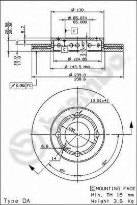 Диск тормозной VW LUPO 98-05/POLO 94-01 передний вент.