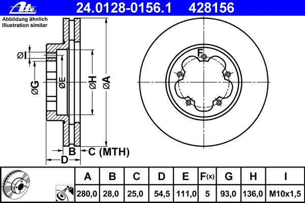Диск тормозной передн, FORD: TRANSIT TOURNEO 2.2 TDCi 06-, TRANSIT c бортовой платформой 2.2 TDCi 06-, TRANSIT автобус 2.2 TDCi 06-, TRANSIT фургон 2.2 TDCi 06-