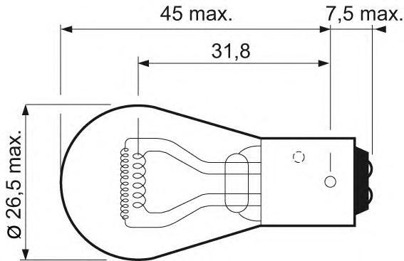 Комплект ламп накаливания 2шт P21/4W 12V 21/4W BAZ15d Essential (стандартные характеристики)
