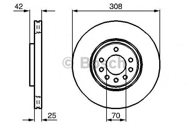 Диск тормозной BOSCH 0986479113 OPEL ASTRA H 1.9 CDTI /2.0 Turbo пер 308*25