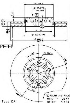 Диск тормозной AUDI 100 91>/A4 95>08/A6 95>05/VW PASSAT 97>00 передний вент.