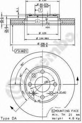 Диск тормозной OPEL ASTRA G 1.2-2.0 98-05 передний D=256мм.