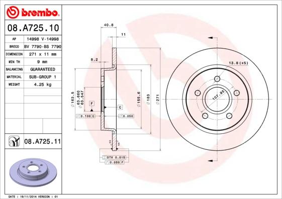 Диск тормозной FORD FOCUS III 11-/C-MAX 10- задний