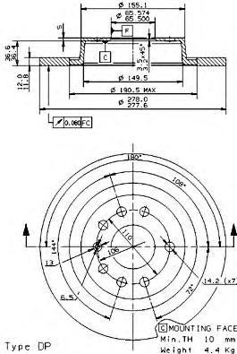 Диск торм. окраш. Re OP Vecta C 02-, SAAB 9-5