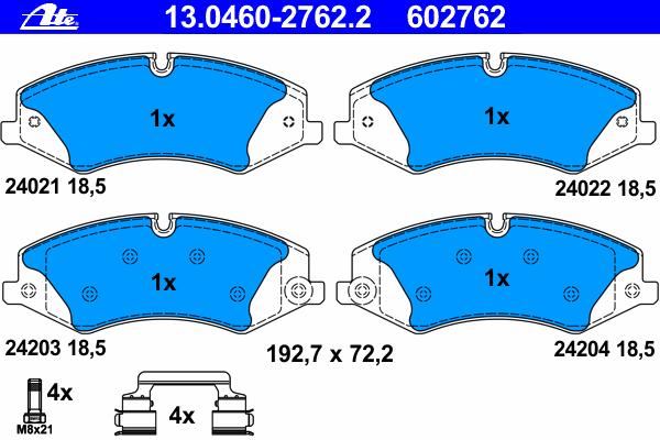 Колодки тормозные дисковые передн, LAND ROVER: DISCOVERY IV 3.0 4x4/3.0 SDV6 4x4/3.0 TD 4x4/4.0 4x4/5.0 V8 4x4 09-, RANGE ROVER III 3.6 TD 8 4x4/5.0 V8 4x4 02-12, RANGE ROVER