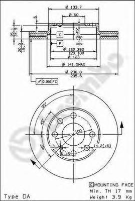 Диск тормозной CHEVROLET LANOS/AVEO/SPARK/ASTRA F/CORSA B/VECTRA A передний вент