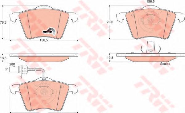 Колодки тормозные TRW GDB1538 VW SHARAN/ FORD GALAXY с датч 280мм