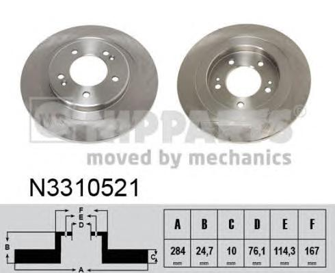 Диск тормозной NIPPARTS N3310521 HYUNDAI i40 12- 284*10
