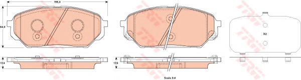 Колодки передние HYUNDAI IX55 3,0-3,8 4WD GDB3527