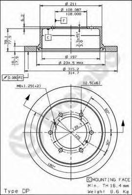 Диск тормозной MITSUBISHI PAJERO 90-/SPACE GEAR 95-00 задний D=315мм.