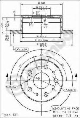 Диск тормозной CITROEN JUMPER/FIAT DUCATO/PEUGEOT BOXER 94- задний D=280мм.