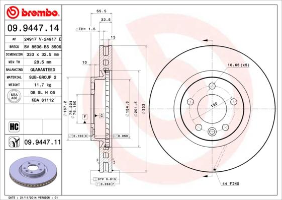 Диск тормозной VW MULTIVAN/TRANSPORTER V 1.9-3.2 03- передний D=333мм.