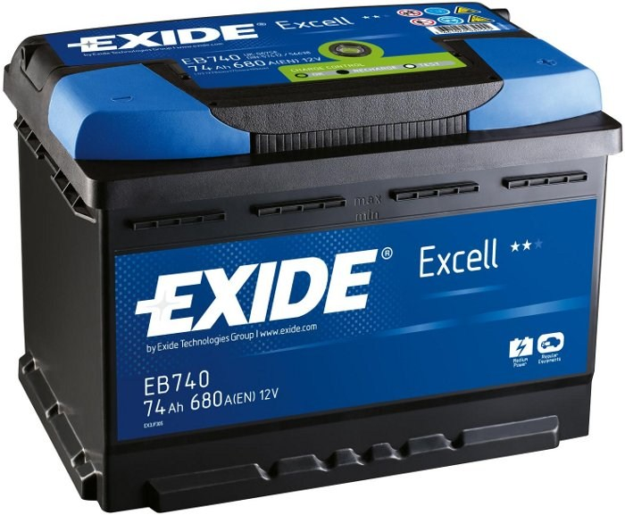 Аккумулятор EXIDE EXCELL 12V 74AH 680A ETN 0(R+) B13 278x175x190mm 18.29kg