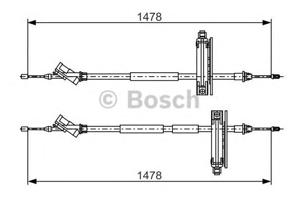 Трос ручного тормоза BOSCH 1987477932 Focus 01-04 цент 1478мм для бараб