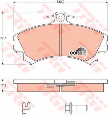Колодки тормозные TRW GDB1584 MMC COLT VI 04- пер толщ 17,3 (см GDB1317)
