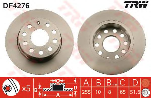 Диск тормозной задний SKODA OCTAVIA (1Z_, 5E_), VW GOLF V-VI, JETTA IV DF4276