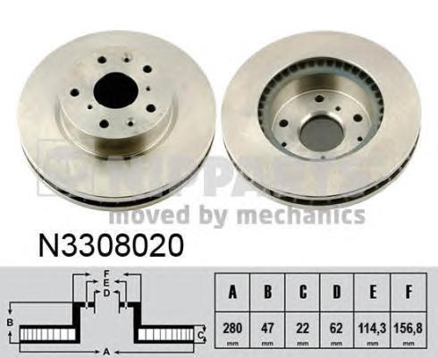 Диск тормозной NIPPARTS N3308020 SX4 06- пер 280*22 5 отв