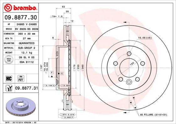 Диск тормозной Brembo Painted Disc 09.8877.31