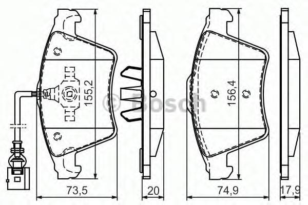 Колодки тормозные BOSCH 0986494164 VW Touareg 2.5TDi 03- пер (1датчик)