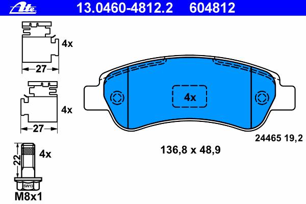 Колодки тормозные дисковые задн, CITROEN: JUMPER c бортовой платформой 2.2 HDi 100/2.2 HDi 110/2.2 HDi 120/2.2 HDi 130/2.2 HDi 150/3.0 HDi 145/3.0 HDi 160/3.0 HDi 180 06-, JUM