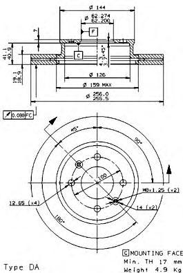 Диск тормозной HYUNDAI GETZ 1.1-1.6 02- с абс передний