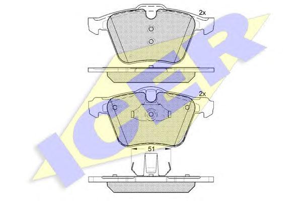 "Колодки тормозные ICER 181805 VOLVO XC70 07- /S60 10- /S80 06- пер 17""/18"""