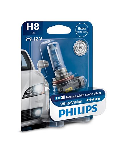 Лампа накаливания H8 WhiteVision 12V 35W PGJ19-1 3700К B1