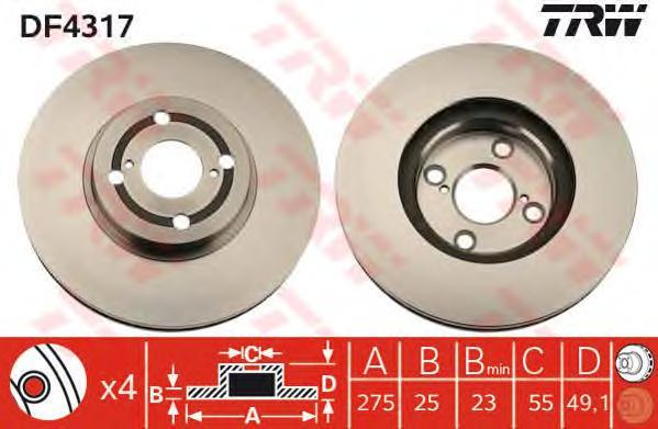 DF4317 Диск тормозной передн TOYOTA: COROLLA 00-02, COROLLA 02-, COROLLA Compact 00-02, COROLLA Liftback 00-02, COROLLA Wagon 00