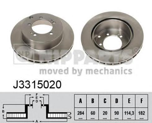 J3315020 Диск тормозной MITSUBISHI SPACE WAGON 98- задний