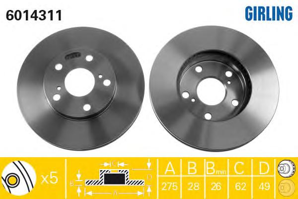 6014311 Диск тормозной TOYOTA AVENSIS 01-/CAMRY 91-01/PREVIA 00- передний вент.D=275мм.