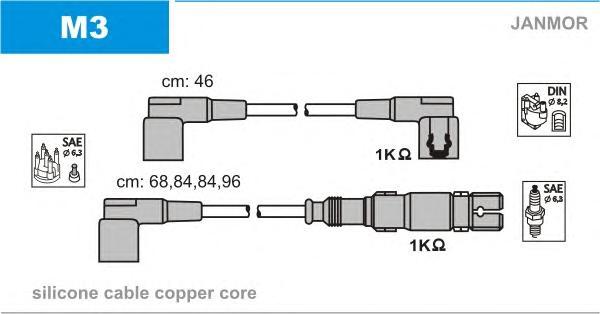 M3 Комплект проводов зажигания MERCEDES-BENZ: 190 82-93, COUPE 77-85, COUPE 87-93, G-CLASS 79-93, G-CLASS 89-, G-CLASS Cabrio 80